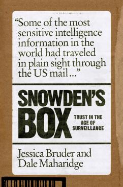 """white book cover with cardboard brown border reading """"Snowden's Box"""""""