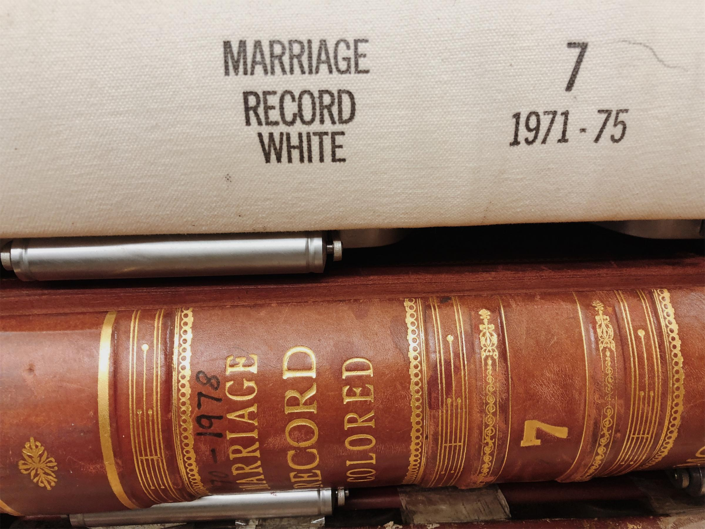 Marriage record book spines