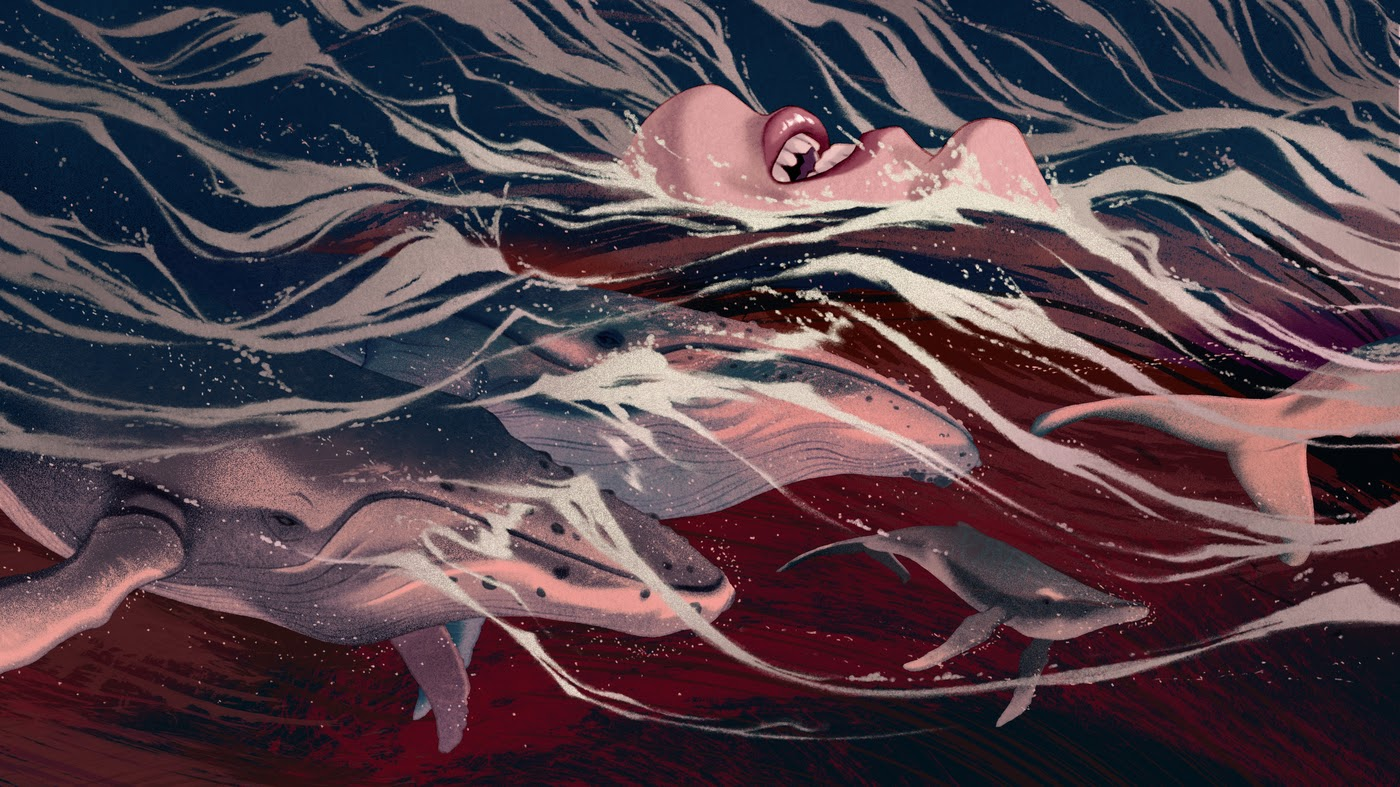 illustration of ocean waves with water animals and the lower part of a woman's face floating on it