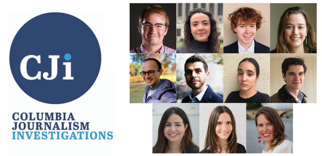 Columbia Journalism Investigations fellows and logo