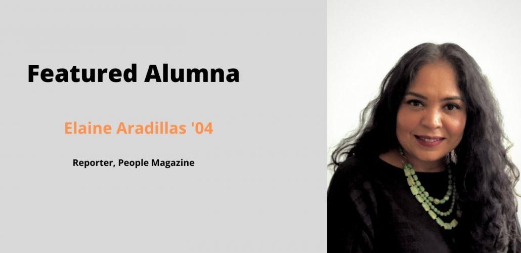 "Elaine Ardillas next to text reading ""Featured Alumna"""