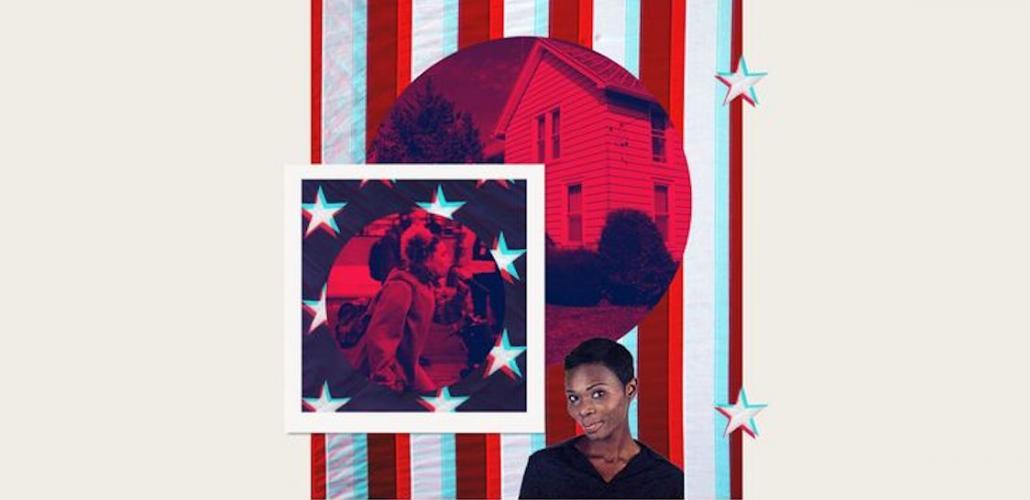 Rita Omokha superimposed on American flag-themed background