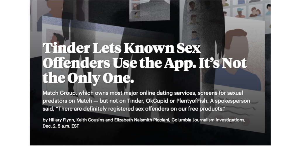 Preview of Tinder Story on website