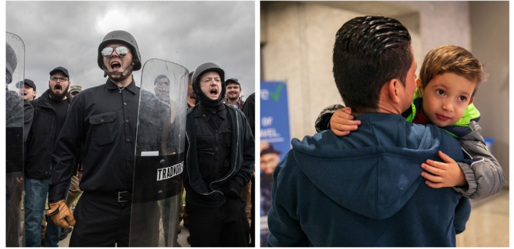 two photos: troops and child in parents' arms
