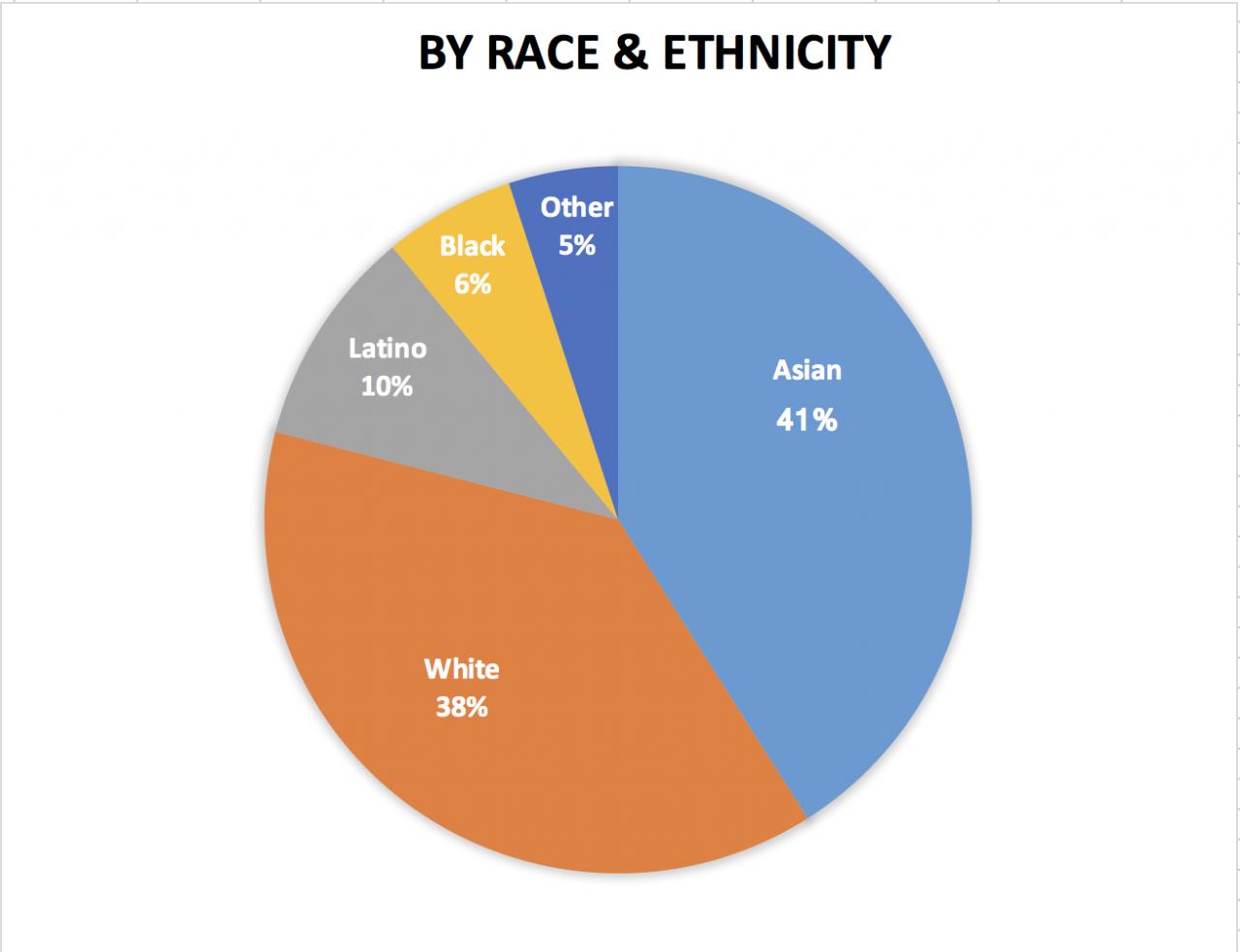 41% Asian, 38% White, 10% Latino/Latina, 6% Black, 5% Other