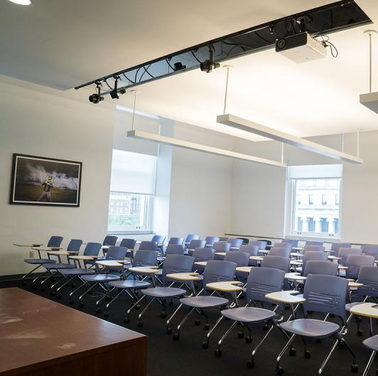 Classroom with desks: Classroom Rentals at Columbia Journalism School in New York City