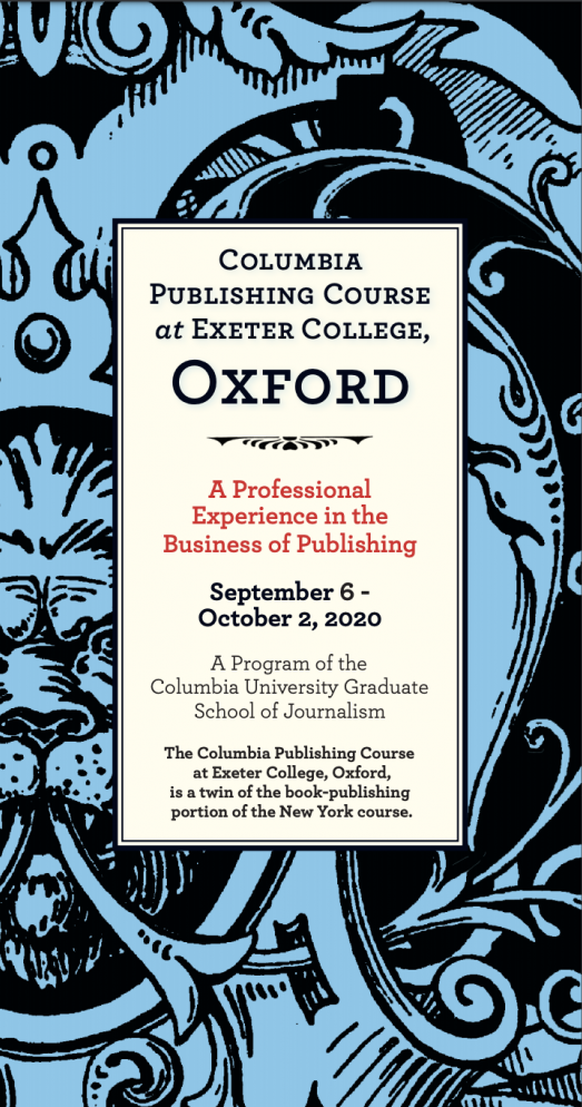 "brochure cover reading ""Columbia Publishing Course"" at Exeter College, Oxford"""