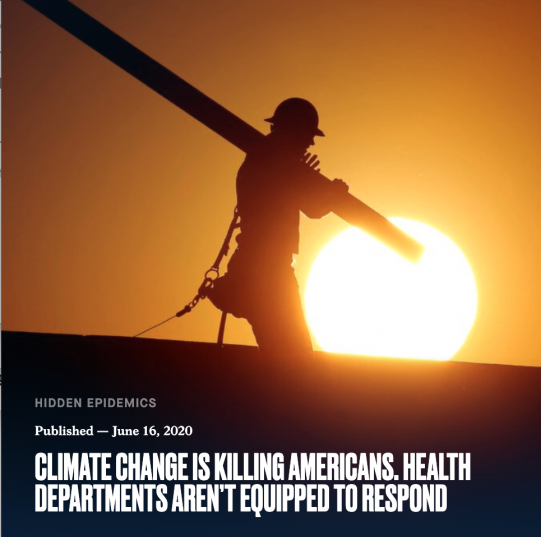 """worker carrying pipe against orange sunrise, headline reading """"Climate Change is Killing Americans. Health Departments Aren't Equipped to Respond"""""""