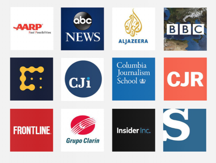 Logos for AARP, ABC, Al Jazeera, BBC, CoinDesk, CJI, CJS, CJR, Frontline, Grupo Clarin, Insider and La Stampa