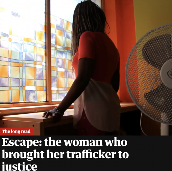 Preview of Guardian story with back of woman looking out of a window