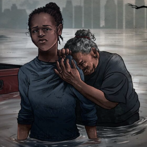 illustration: two women waist-deep in water and looking sad