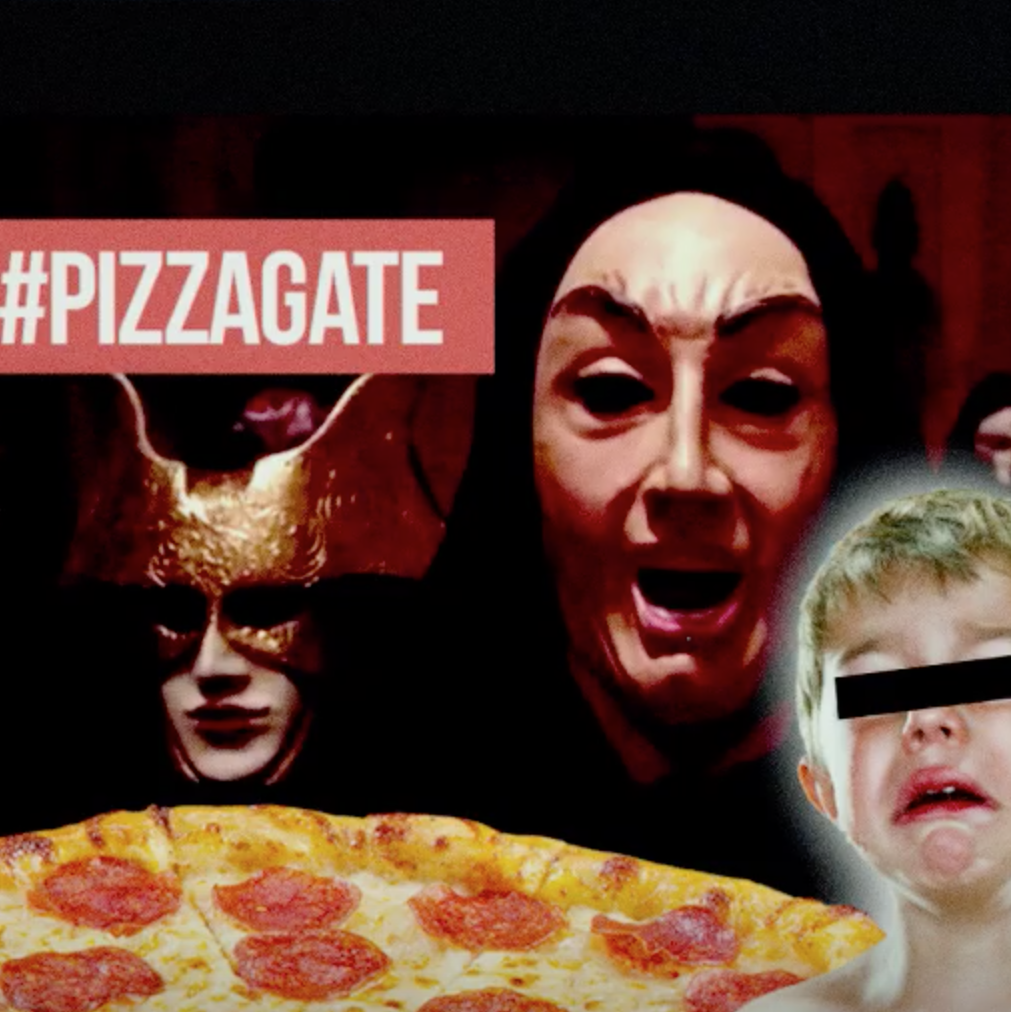 pizza and masked figures