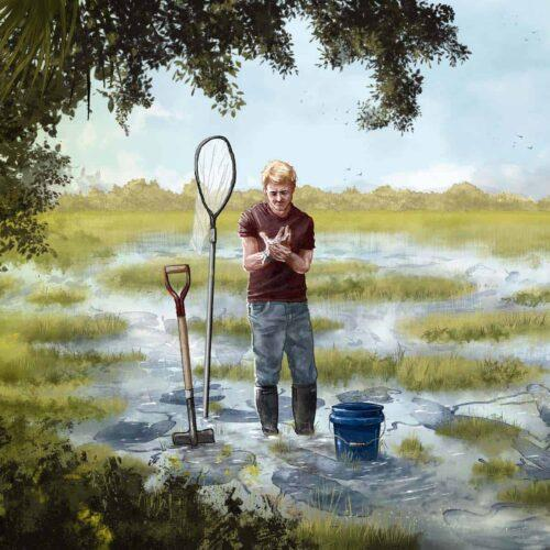 painting of man holding hand in pain while standing in ankle-deep water
