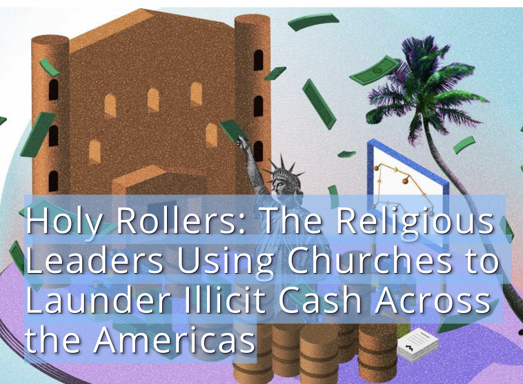 brown church with green dollars flying nearby