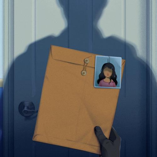 illustration of hand holding envelope with photo clipped to it and a man's shadow on a door in the background