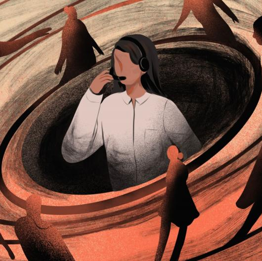 illustration of woman with headset surrounded by vortex of silhouettes