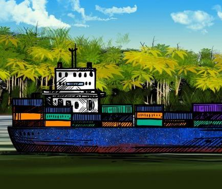 illustration of boat on tropical river