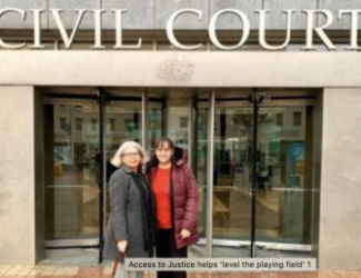 Attorney and client in front of civil court