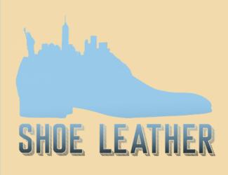 "logo depicting blue shoe with city buildings rising from it, with words ""Shoe Leather"" under it"
