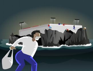 illustration of man wearing facial mask running from facility