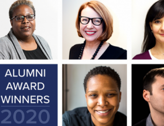 panel of 5 faces and Alumni Award Winners and logo
