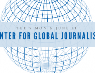 """blue-lined sphere with banner reading """"The Simon & June Li Center for Global Journalism"""" imposed over it"""
