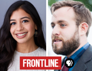 headshots: Lila Hassan and Dan Glaun with red Frontline logo