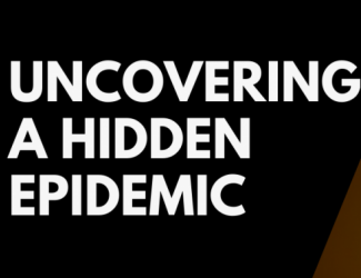 "Banner reading ""Uncovering a hidden epidemic"" aside image of worker in the sun"