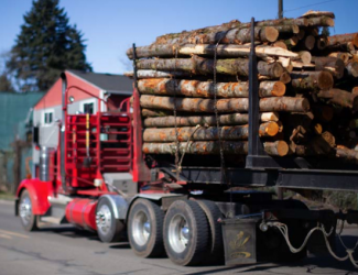 A red truck carrying a bed of logs rolls along a road with a green building and pine tree