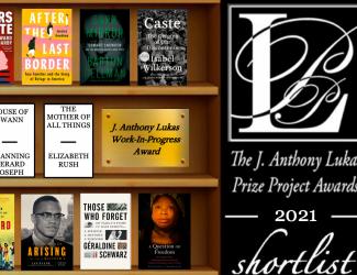 bookshelves and Lukas Prizes logo