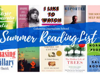 Columbia Journalism School summer reading list banner featuring book covers