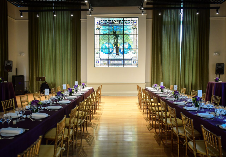 World Room dinner with rectangle tables